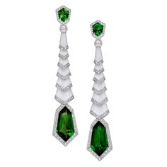 GABRIELLE'S AMAZING FANTASY CLOSET | Avakian's Gatsby Diamond Enamel and Green Tourmaline Earrings