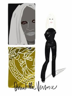Donatella Versace #portrait #illustration - Open Toe, fashion illustrated - Opentoeillustration.com