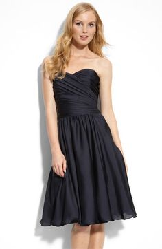navy - ML Monique Lhuillier Bridesmaids Strapless Dress (Nordstrom Exclusive) available at Nordstrom