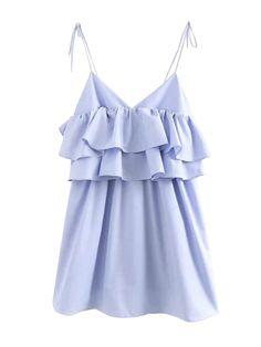 Vestido casual con volantes en capas - Azul claro S