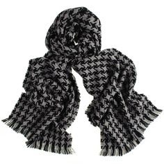 Black and Grey Large #Houndstooth #Cashmere #Scarf
