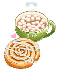 Hot Chocolate with Marshmallows and an Iced Cinnamon Roll pixel art - cocoa, bun, pastry, cup, mug