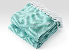 Cotton Herringbone Throw in White/Viridian