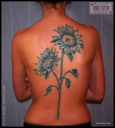 Blue Sunflower Tattoo on the Back