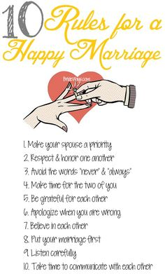10 Rules for a Happy Marriage - marriage tips husbandandwife Marriage Prayer, Godly Marriage, Marriage Goals, Marriage Relationship, Marriage And Family, Strong Marriage Quotes, Successful Marriage Quotes, Marriage Messages, Happy Marriage Tips