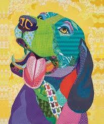 "Scrapbook Paper collage art, by Laura Yager-""A Warm Reception""- beagle dog art, animal portraits art, cut paper art"