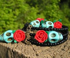 Day of the Dead Set: Bracelet, Earrings & Pendant #Necklace