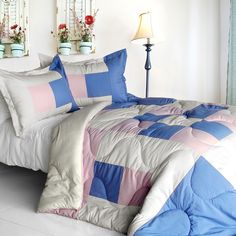 [Dream Wings] Quilted Patchwork Down Alternative Comforter Set (Twin Size)