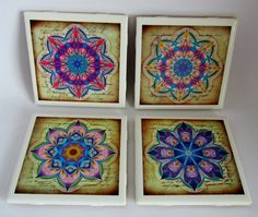 Ceramic tile coasters with bright and colorful healing mandalas designs.  For cold and hot drinks. Great gifts for all occasions. by ThePrimroseCottage on Etsy