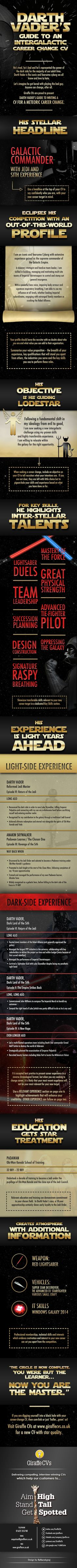 Darth Vader's Guide to an Intergalactic Career Change CV [INFOGRAPHIC] on http://theundercoverrecruiter.com
