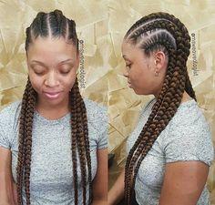 Winter Hairstyles, Twist Hairstyles, Protective Hairstyles, Protective Styles, Jumbo Cornrows, 2 Braids, Goddess Braids, Braid Styles, Hair Looks
