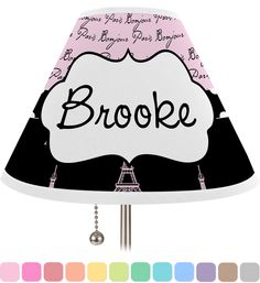 Paris Bonjour and Eiffel Tower Personalized Lamp Shade