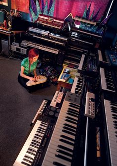 Here's a companion to the photo on page 10 of our March 2012 issue, featuring the synth-filled personal studio of Boston-based Casey Desmond. Music Recording Studio, Recording Studio Design, Home Studio Music, Music Is Life, New Music, Vintage Drums, Vintage Keys, Analog Synth, Studio Gear