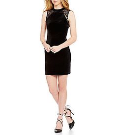 French Connection Viven Mock Neck Sleeveless Velvet Dress #Dillards