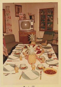 Tiki/Polynesian Party decor in a Mid Century Modern Living Room/ Home Decor Inspiration/ Tiki Style/ Vintage Party, Vintage Decor, Retro Vintage, Aloha Party, Tiki Party, Vintage Photographs, Vintage Photos, Kombi Hippie, 1960s Aesthetic