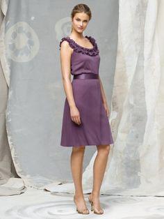 (NO.018754 )Sheath / Column Scoop  Hand-Made Flower Sleeveless Knee-length  Taffeta Grape Bridesmaid Dress / Cocktail Dress / Homecoming Dress