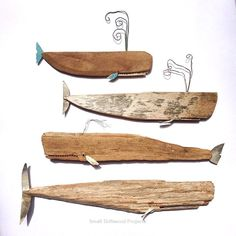 perhaps one of the most creative bits weve viewed! Handmade Whales by HandmadeLoves Etsy Creativity Driftwood Projects, Driftwood Art, Custom Dining Tables, Wood River, Beach Crafts, Woodworking Projects Diy, Fish Art, Diy Design, Whale