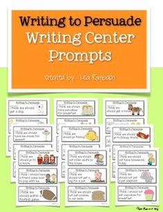 Persuasive Writing Prompts for Beginning Writers (set of 27 prompts on 9 sheets, 3 prompts per sheet) $