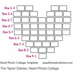 The Taylor Diaries: Heart Photo Collage Template. Collage Foto, Heart Picture Collage, Heart Collage Of Pictures, Wall Collage, Heart Pics, Pic Collage Ideas, Heart Shaped Photo Collage, Wall Pictures, Photo Collage Gift