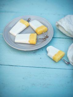 Homemade Coconut Frozen Yoghurt & Pineapple Sorbet Icy Poles