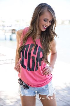Comfort Colors Vinyl Monogram Tank Burnt Red - The Pink Lily Boutique