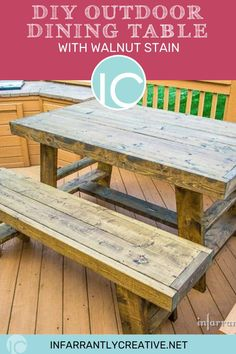 Learn how to build a DIY outdoor dining table, perfect for outdoor dining. Outdoor patio furniture on a budget. Diy Furniture Projects, Woodworking Projects Diy, Diy Wood Projects, Handmade Furniture, Woodworking Plans, Outdoor Dining, Dining Table, Outdoor Spaces, Knock Off Decor