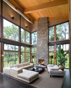 Modern Rustic Great Room!  Love all the windows... Needs BIGGER Fireplace!!
