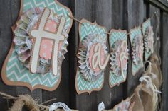 HAPPY BIRTHDAY Banner  Having a shabby chic party theme?! Order your customized banner here! *This particular paper is no longer available but it