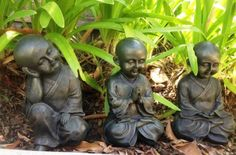 Set-of-3-Meditating-Buddha-Boy-Monks-Ornament-Statue-Figurines-Home-or-GardenThis gorgeous set of 3 meditating boy monks will add a touch of peace & tranquility to your garden, home or outdoor area. Each of the 3 monks are in different tranquil poses - 1 is praying, 1 is in quiet contemplation & the other is meditating. Made from durable poly resin & painted with UV paint, each monk measures 19cm in height. A great addition to any home and lovely gift idea. #buddhas #monks #gift