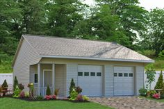 A lovely Two Car Garage with a porch from Sheds Unlimited in Lancaster PA. Buy this detached 2 car garage for your home in PA, NJ, NY, DE, MD, VA, WV, CT and beyond...