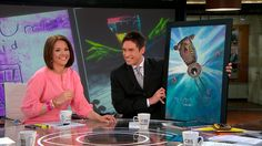 Whit Johnson and Producer Andy Merlis surprise Erica Hill with the monster painting Dave DeVries rendered from Erica's son's original drawing. Erica Hill, Studio 57, Cbs News, The Originals, Drawings, Painting, Painting Art, Paintings, Drawing