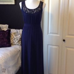 Navy Maxi Dress Super soft tee shirt material with lace bodice. Three Dots Dresses Maxi