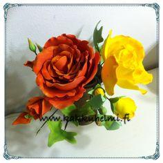 Sugar flowers, roses. Langoitetut ruusut. www.kakkuhelmi.fi