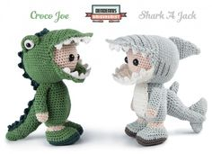 Amigurumi crocodile and shark