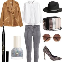 Look # 50 - Fall Outfit Ideas - Felted Hat by HM-Round Sunglasses-Biker Jacket-Cotton Shirt by HM-Ankle Jeans -Shoulder Bag- Court Shoes-Nail Polish | Style Spacez