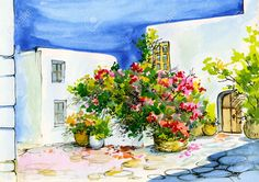 Watercolor Painting Of A Bouquet Of Flowers In Pots On The Windowsill,.. Stock Photo, Picture And Royalty Free Image. Image 38708343.