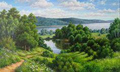 Схема вышивки «Пейзаж, лес, река» - Вышивка крестом
