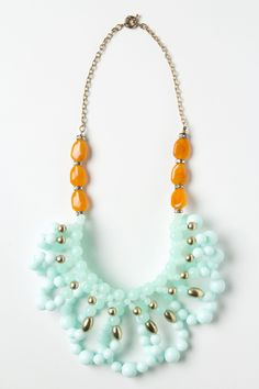 Anthro baby blue and mustard necklace