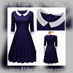 "This is a cute 1950's look business style dress. Made from 64% cotton, 32% nylon and 4% spandex. The dress is navy blue with a white collar and white bottom sleeve. The dress is a one piece, knee length, with a zipper in back. Available in US sizes 4 - 14 only at this time.     This item ships within seven (7) days.     Will also be available on our website at www.UyleesBoutique.com in our ""Vintage Dresses"" section.     The dress measurements are as follows:    Small: 4 - 6 US, 32.3"" - 34.7""…"