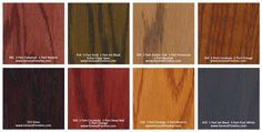 General Finishes Pro Floor Stain® Color Swatch / Chart for Hardwood Flooring Wood Floor Stain Colors, Types Of Wood Flooring, Floor Colors, Hardwood Floors, Stain Wood, Oak Floor Stains, Paint Color Swatches, Red Paint Colors, Damp Proofing