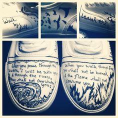 Custom Verse Design on canvas shoes White Canvas Shoes, Painted Canvas Shoes, Redo Clothes, Clothes Crafts, Sharpie Shoes, White Sharpie, Shiny Shoes, Flip Flop Shoes, Fashion Painting