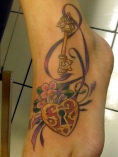 Heart key and ribbon tattoo | Flickr - Photo Sharing!