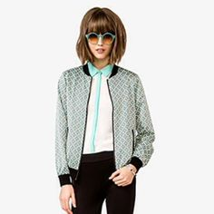 Geo Print Bomber Jacket Never worn lightweight bomber jacket with cool geometric print in turquoise, black and cream. No trades. No PayPal Forever 21 Jackets & Coats