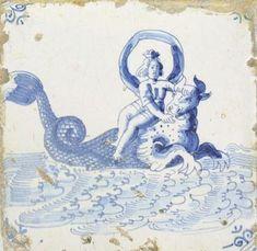 Sea creature,Delft tile,anno 1660,actual reproduction