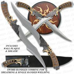 Elfin Warrior Scimitar Swords w/ Plaque & Sheath-- $25