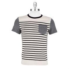 Charles And A Half Mens Contemporary Striped Tee #VonMaur #CharlesAndAHalf #Black #White #Pocket