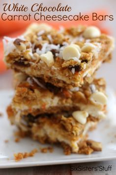 White Chocolate Carrot Cheesecake Bars from Six Sisters' Stuff are my favorite Easter dessert!