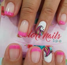 Cute Nails, Pretty Nails, Hair And Nails, My Nails, Mandala Nails, Nails For Kids, Nail Patterns, French Tip Nails, Nail Decorations