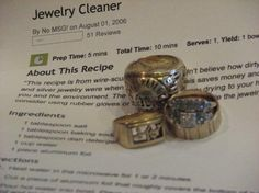 Homemade Jewelry Cleaner. This is AMAZING! I just cleaned my ring in this and it looks brand new, plus it uses easy ingredients that everyone has.