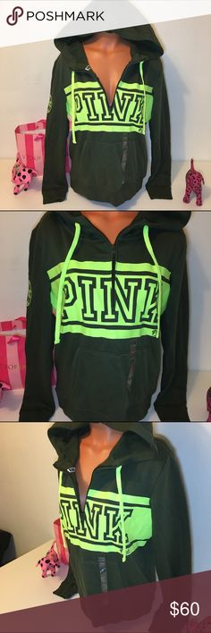NEW PINK VS HALF ZIP LOGO SWEATSHIRT PINK VICTORIA'S SECRET  HALF ZIP SWEATSHIRT WITH KANGAROO POCKET, LOGO IN FRONT AND ON SLEEVE. GORGEOUS PIECE!!! 